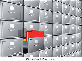 folder search. file cabinet with half-open drawers...
