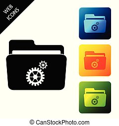 Folder settings with gears icon isolated. Concept of software update, transfer protocol, router, teamwork tool management, copy process. Set icons colorful square buttons. Vector Illustration
