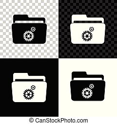 Folder settings with gears icon isolated on black, white and transparent background. Concept of software update, transfer protocol, router, teamwork tool management, copy process. Vector Illustration