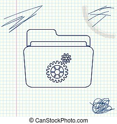 Folder settings with gears line sketch icon isolated on white background. Concept of software update, transfer protocol, router, teamwork tool management, copy process. Vector Illustration