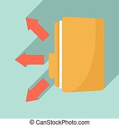Folder share icon, flat style