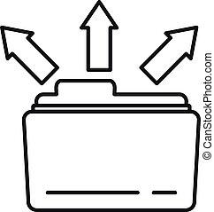Folder share icon, outline style