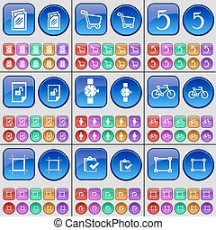 Folder, Shopping cart, Five, File, Wrist watch, Bicycle, Frame, Survey. A large set of multi-colored buttons. Vector