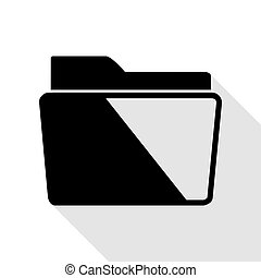 Folder sign illustration. Black icon with flat style shadow path.