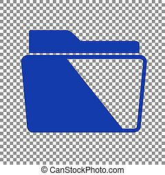 Folder sign illustration. Blue icon on transparent background.