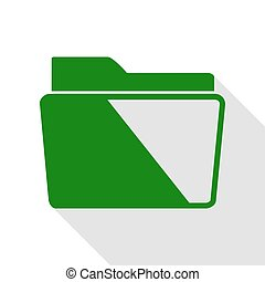 Folder sign illustration. Green icon with flat style shadow path.