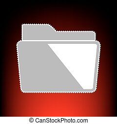 Folder sign illustration. Postage stamp or old photo style on red-black gradient background.