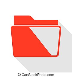 Folder sign illustration. Red icon with flat style shadow path.