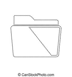 Folder sign illustration. Vector. Black dotted icon on white background. Isolated.