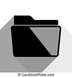 Folder sign illustration. Vector. Black icon with two flat gray shadows on white background.
