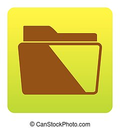 Folder sign illustration. Vector. Brown icon at green-yellow gradient square with rounded corners on white background. Isolated.