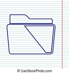 Folder sign illustration. Vector. Navy line icon on notebook paper as background with red line for field.