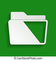 Folder sign illustration. Vector. Paper whitish icon with soft shadow on green background.