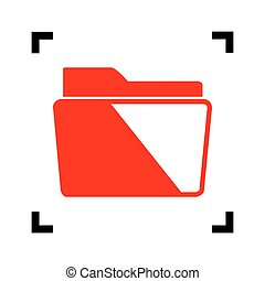 Folder sign illustration. Vector. Red icon inside black focus corners on white background. Isolated.