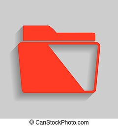 Folder sign illustration. Vector. Red icon with soft shadow on gray background.