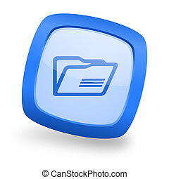 folder square glossy blue web design icon