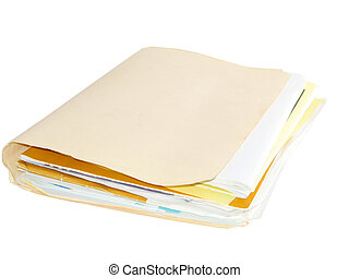 Folder with papers isolated on white