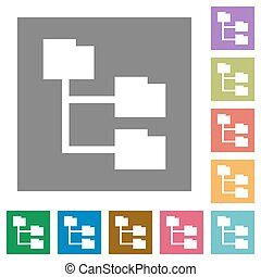 Folder structure square flat icons