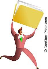 folder success - ethnic business man carrying giant folder...
