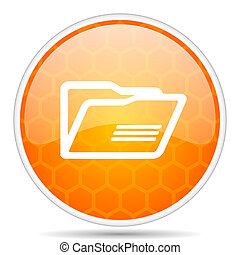 Folder web icon. Round orange glossy internet button for webdesign.