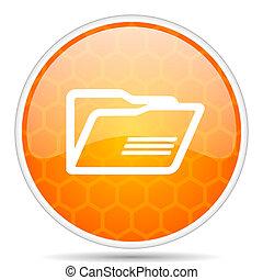 Folder web icon. Round orange glossy internet button for webdesign.