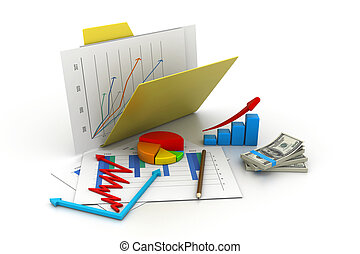 Folder with business chart, graph and money