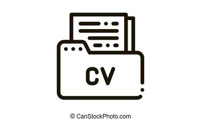 Folder With Curriculum Vitae CV Job Hunting animated black icon on white background
