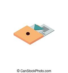 folder with envelope letter paper correspondence postal mail isometric