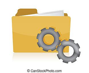 folder with gears illustration