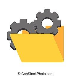 Folder with gears symbol