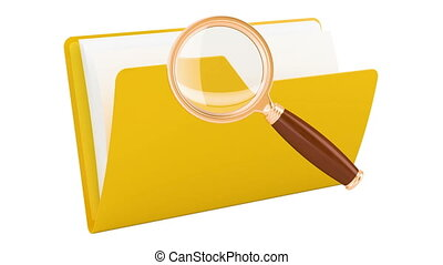 Folder with magnifier, animation. 3D rendering