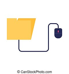 folder with mouse education online flat style