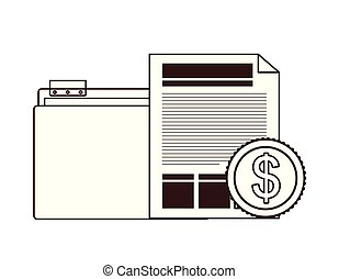 folder with office objects on white background vector ...