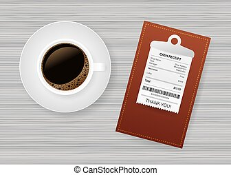 Folder with paper check. Coffee cup. Restaurant bill paying. Cashier check, invoice, order. Vector stock illustration.