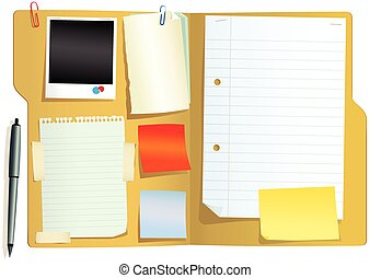 An illustration of an open cardboard file with papers. Plenty of blank space for your own message.