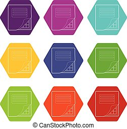 Folder with table excel icons set 9 vector - Folder with ...