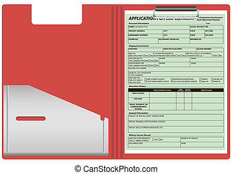 Folder with the application form for employment