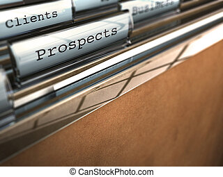 folder with the word prospects and at the backside another...
