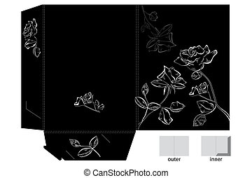 Folder with white Rose flowers
