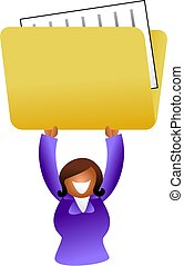 folder woman - ethnic woman holding up a folder containing...