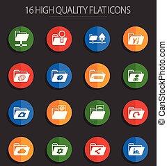 folders 16 flat icons