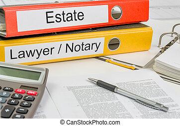 folders, advocaat, landgoed, etiket