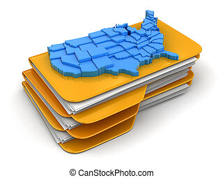 Folders and files with map of USA