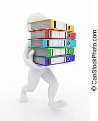 folders., archivo, hombres