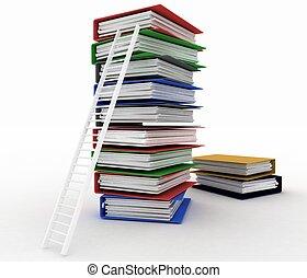 folders, carrière, ontvangenis, ladder., gang van zaken