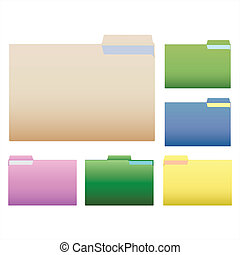 Folders - Image of colorful folders isolated on a white...