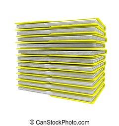folders, gereproduceerd, beeld, vrijstaand, achtergrond., witte , stapel, 3d