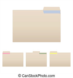 Folders - Image of various folders isolated on a white ...
