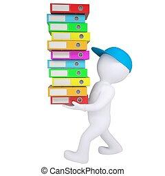 folders, kantoor, dragen, witte , man, stapel, 3d