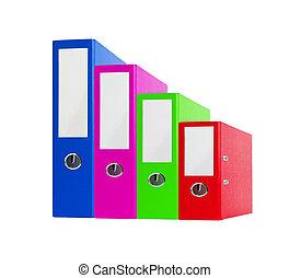 folders, kantoor, kleur, vrijstaand, helder wit, stapel